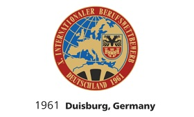 Das Logo des 10. Internationalen Berufswettbewerbs 1961 in Duisburg.
